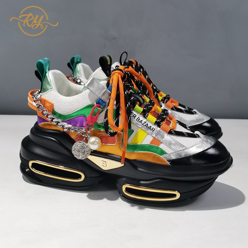 RY-RELAA محطة أوروبا جلد طبيعي النساء أحذية أحذية منصة 2021 الربيع نمط جديد مكتنزة أحذية رياضية ins النساء أحذية رياضية