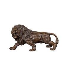 [MGT] 실내 골동품 구리 금속 주조 활활 타오르는 사자 장식품 작은 동상 조각 테이블