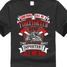 Hipster O Neck Short MenFirefighter papá regalo del Día del Padre para bombero Camiseta cómoda camisa suave para hombres