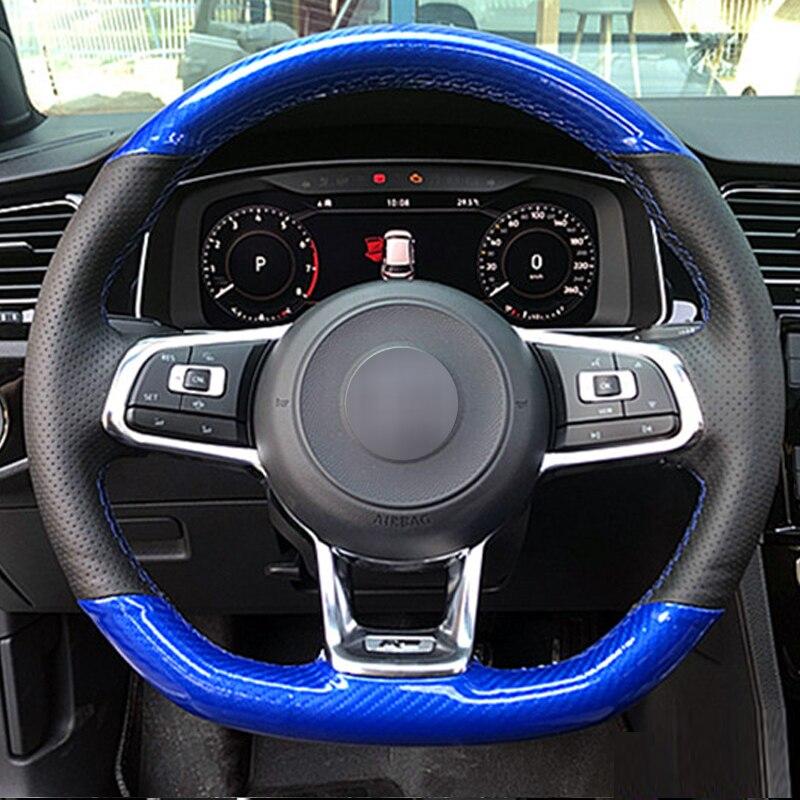 Carbon fiber Black Suede Car Steering Wheel Cover for Volkswagen Golf 7 GTI Golf R MK7 Polo Scirocco 2015 2016 enlarge