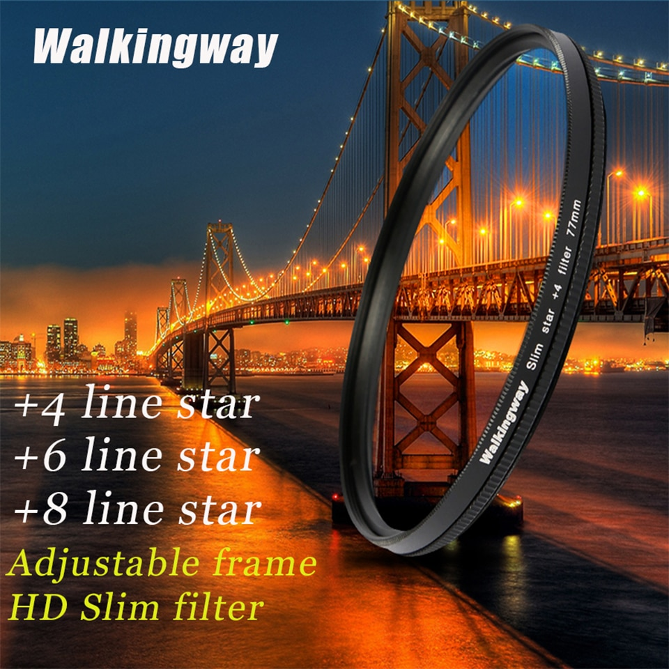 Walkingway Star Filter Lens 52mm 62mm 67mm 72mm 77mm 82mm Star Camera Lens Filter for DSLR sony/canon/nikon Photo Photograpy