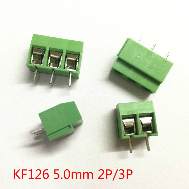 10 unids/lote KF126 Terminal de tornillo 5,0 2P 3P 5,0mm conectores de Terminal para PCB, 250V 8A