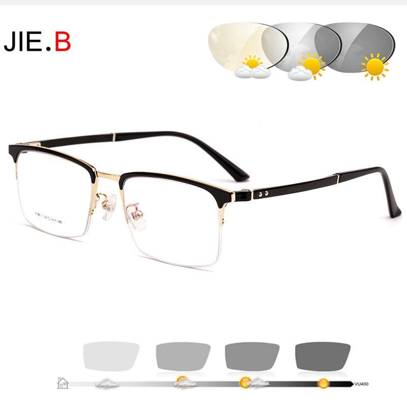 20201New فوتوكروميك نظارات للقراءة رجال الأعمال نظارات الكمبيوتر عادية التيتانيوم نصف إطار مرآة في الهواء الطلق نظارات للقراءة