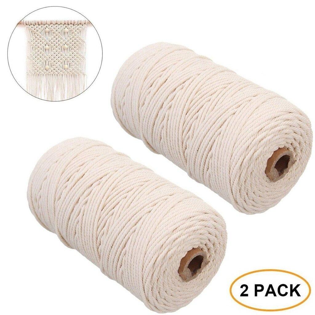 2 pacotes de durável 2mm x 200m algodão branco natural bege trançado par corda artesanato rendas diy artesanal casa decoração suprimentos