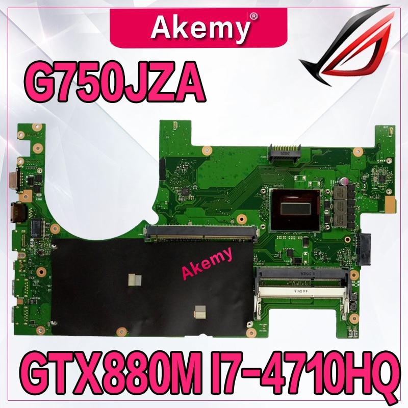Akemy g750jza placa-mãe 2d rev2.0 I7-4710HQ suporte cpu gtx880m 4 gb para For Asus g750jz g750j portátil motherboar 100% teste grátis