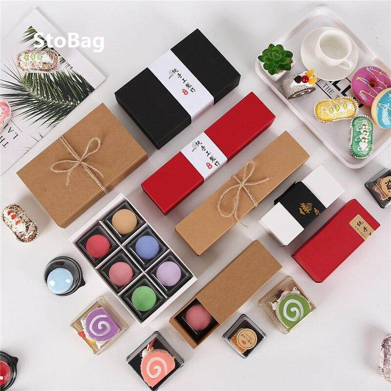 StoBag 10 Uds Universal regalo caja de cartón de regalo portátil caja de dulces de caramelo arco producto exquisita caja de embalaje cumpleaños parte decoración de la boda