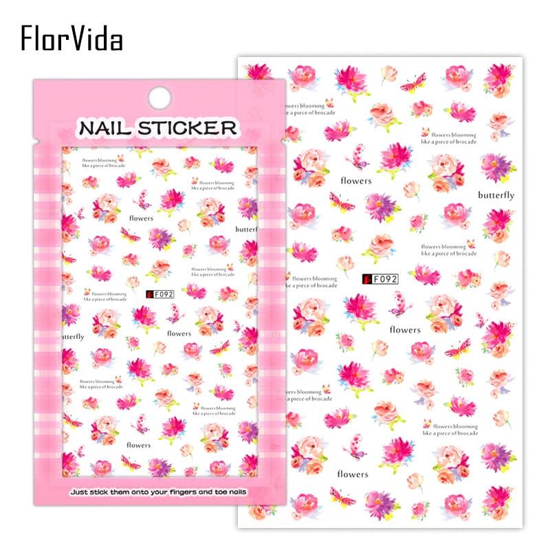 Pegatinas de Arte de uñas pluma flor pintalabios amor pegatinas de uñas Serie F autoadhesivo decoración de manicura prensa en las uñas