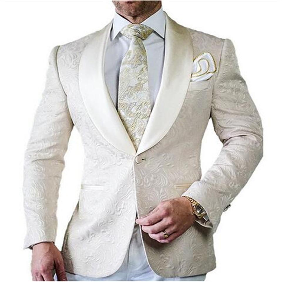 Smolking Noivo Terno-بدلة سهرة للرجال ، ملابس رسمية ، مناسبة للجسم ، مع جاكيت وسروال ، أبيض