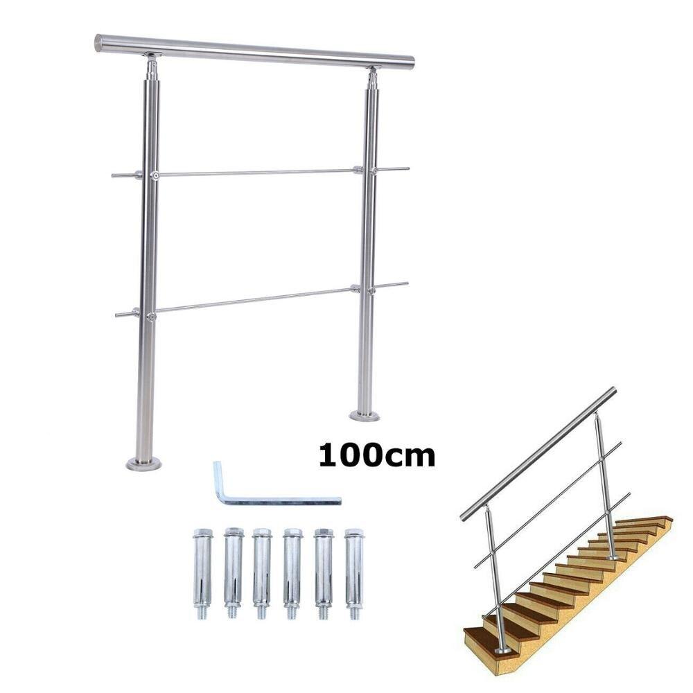 Ridgeyard 201 Steel stair railing 100cm railing handrail parapet w/ 2 cross bars