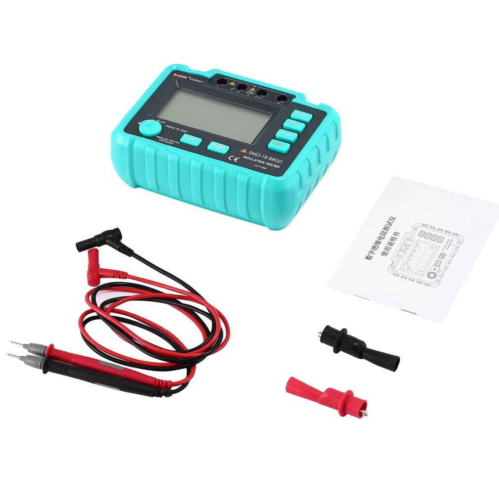 جهاز اختبار المقاومة العزلة الرقمية 1M-20GOhm Ohmmeter انخفاض استهلاك الطاقة VC60D + LCD جهاز اختبار المقاومة العزلة