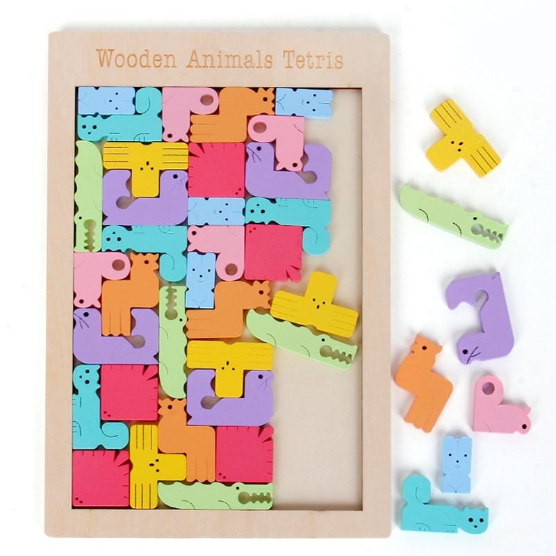 Rompecabezas de madera 3D con diseño de Animal creativo, juguetes de matemáticas Tangram para niños preescolares, juguete educativo intelectual para bebés