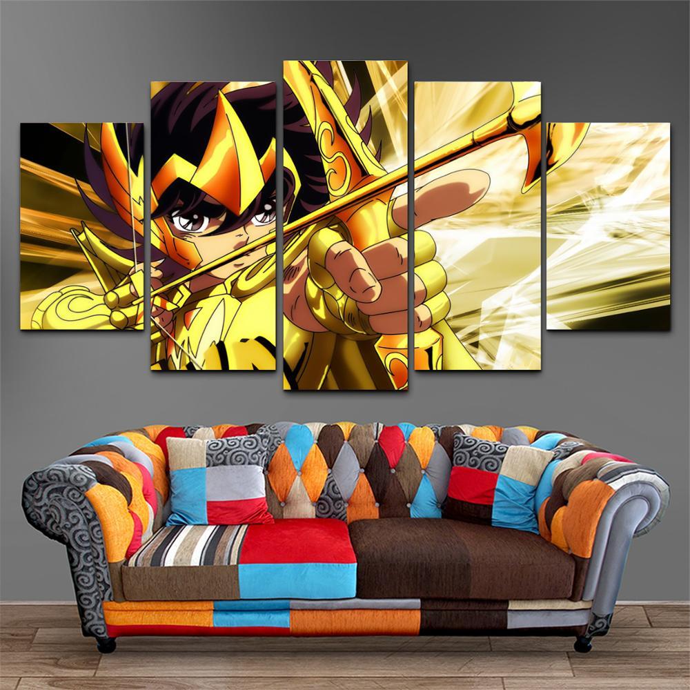 Impresión HD 5 piezas arte de pared dibujo de Santo Seiya Caballeros del zodiaco pintura moderna para niños habitación hogar decorativo