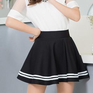 Women Fashion Solid Color High Waist Stripe Pleated A Line Mini School Skirt School Uniform Women Girls Fashion Ladies Skirts
