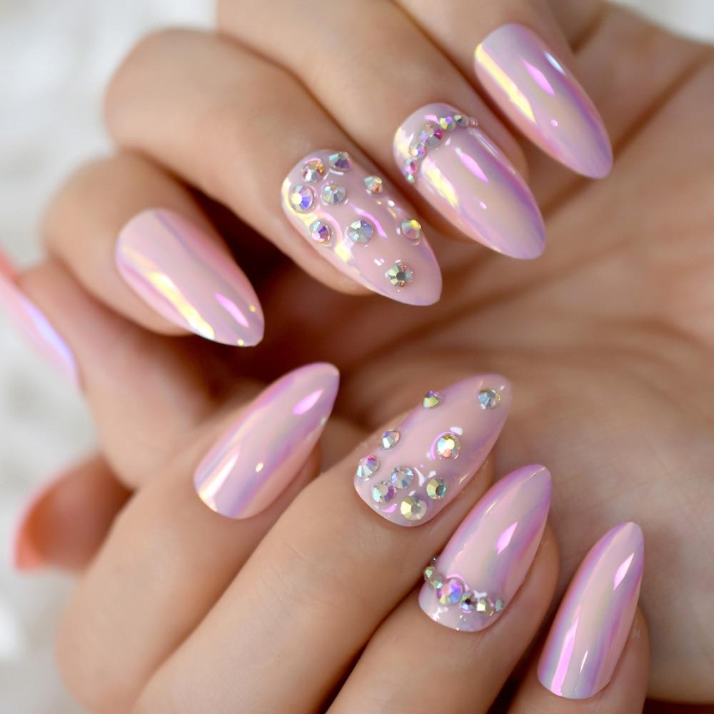 Clavos de cristal de fantasía Rosa cromado efecto espejo de almendra medio perfecto uñas artificiales con diamantes de imitación piedras AB decorativas
