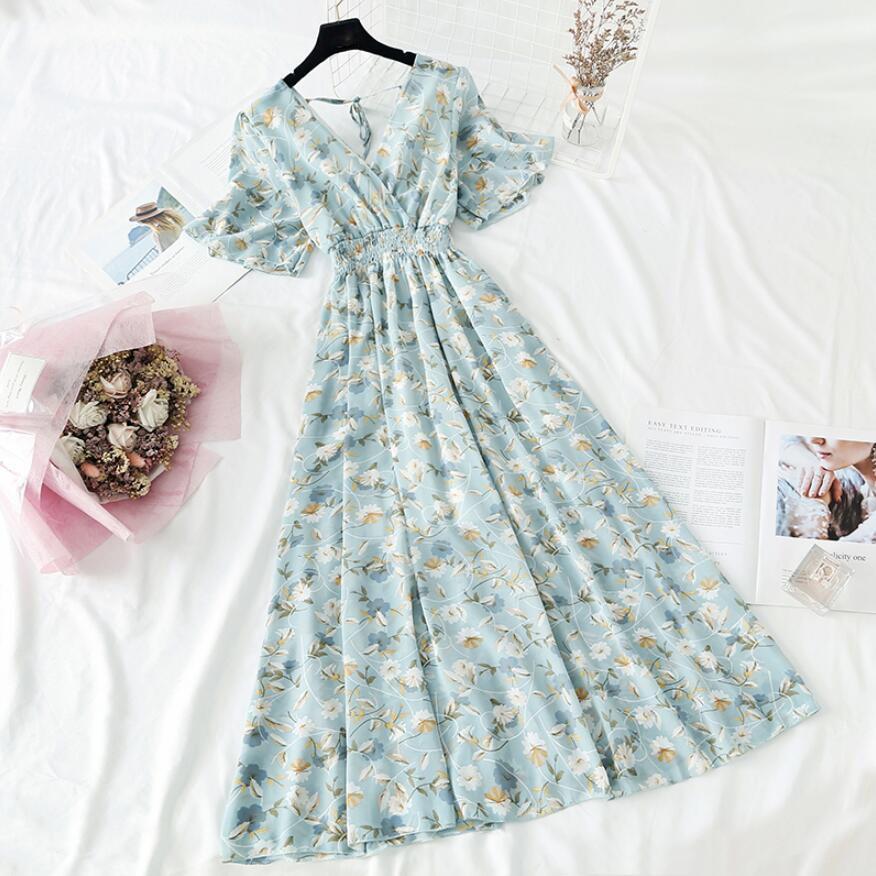2021 Summer Women Ruffled Short-sleeved Chiffon Dress V-neck High Waist Floral Print Beach Midi Dresses Backless Sexy Vestidos