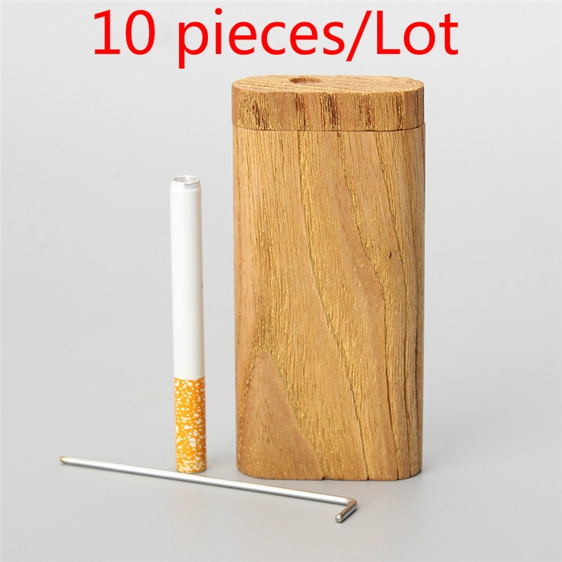 New 10 pcs Smoking Cigarette wood Case Natural Handmade With Ceramic One Hitter Tobacco Smoking Pipes Portable Organizer Box enlarge