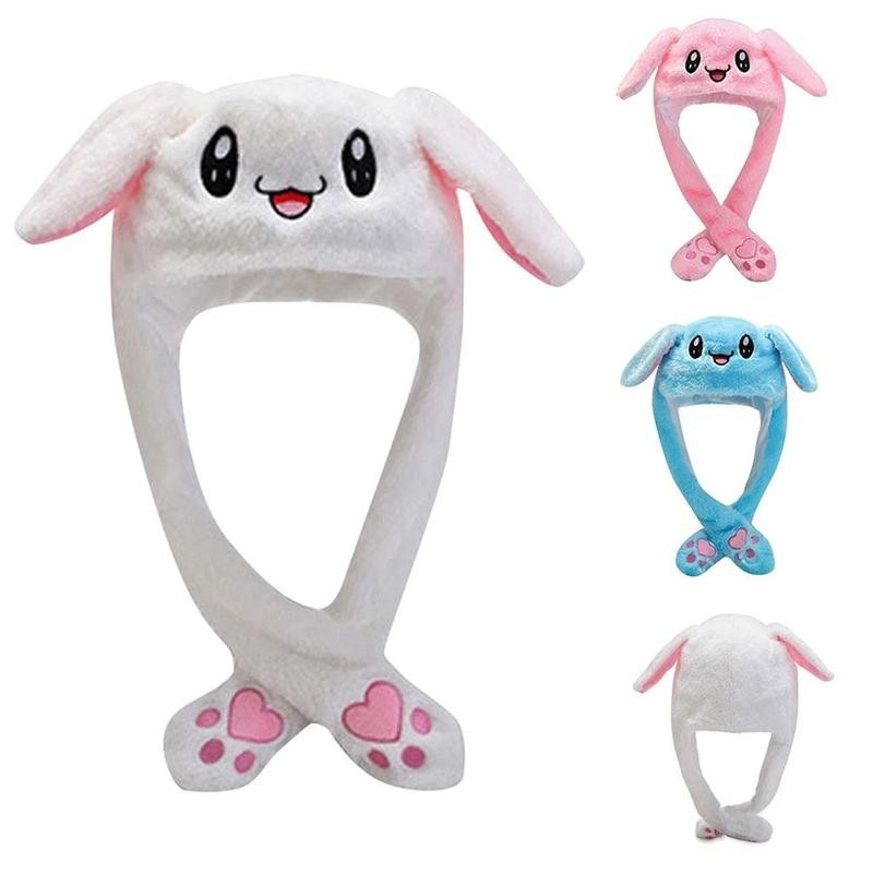Bunny Hat Moving Ears Bunny Ear Cute Hat Best Present Girlfriend Plush Embroidered Cartoon Gift Wrap