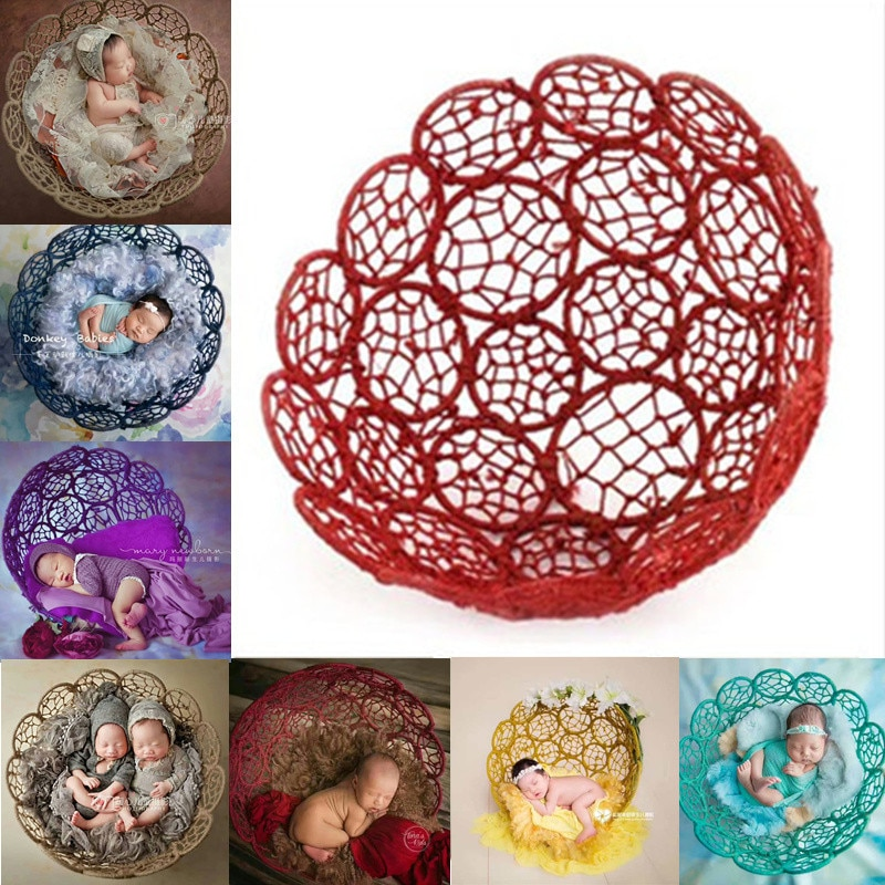 Newborn Photography Props Boy Girl 50cm Hollow Woven Chair Bed Colorful Flower Basket Posing Furniture Baby Photo Accessories