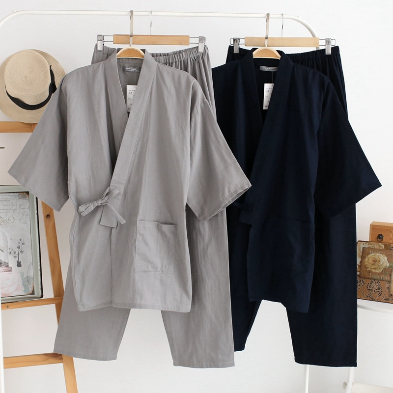 Summer And Spring Men's Pajamas Cotton High Quality Solid Color Japanese Kimono Long-Sleeved Trousers Two-Piece Suit Homewear