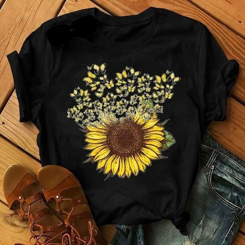 Flying Sunflower Print T Shirt Women Short Sleeve O Neck Loose Tshirt Summer Women Tee Shirt Tops Camisetas Mujer hen chicken print t shirt women short sleeve o neck loose tshirt summer women tee shirt tops camisetas mujer