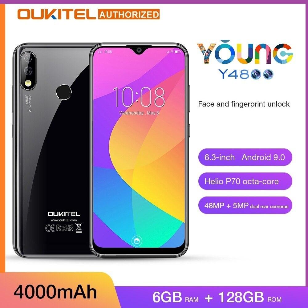 4G Smartphone OUKITEL Y4800 Helio P70 6GB RAM 128GB ROM Face Fingerprint Unlock 48MP Camera Mobile Phone