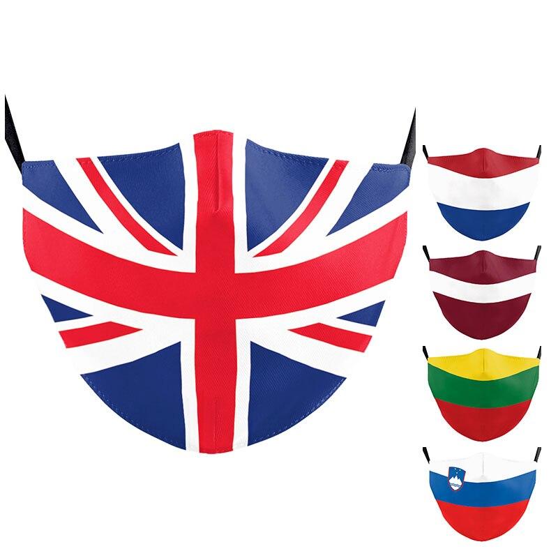Ajustável rússia holanda bandeira máscaras ao ar livre adulto crianças letônia lituânia reino unido impressão máscaras de boca máscara facial lavável reutilizável