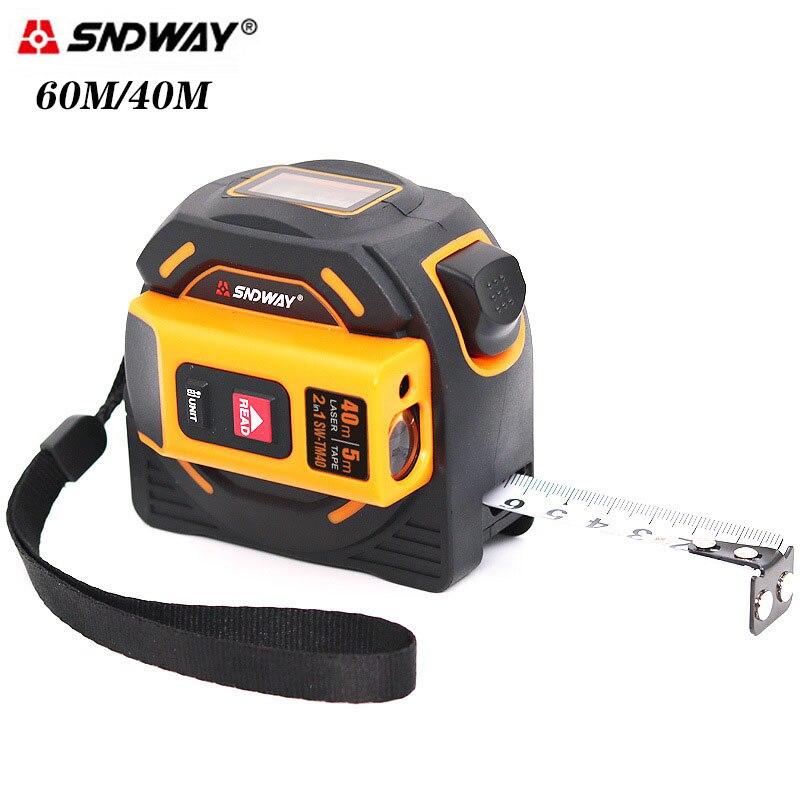Sndway Laser Fita Medida Medidor Digital Metro Régua Roleta Rangefinder Medição Distância Ferramentas 60m