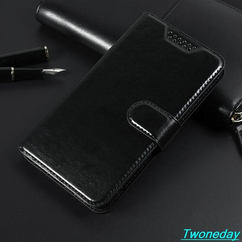 """Caso de couro luxo para alcatel um toque pop 3 5025d 5025 5.5 """"clássico preto flip suporte carteira capa"""