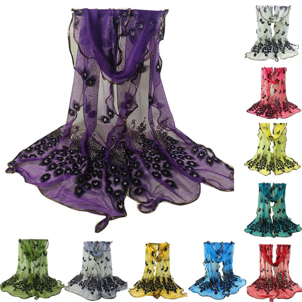 Bufanda de encaje bordada con flores de pavo real para mujer chal largo y suave chal echarpe hiver mujer foulard mujer sjaal hijab de lujo