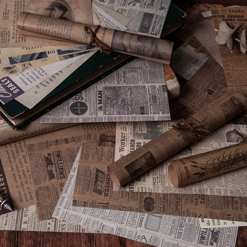 Фото - 60 Sheet Antique Bookstore Series Vintage Newspaper Material Paper Bullet Journaling Scrapbooking Decor Background Paper vintage newspaper