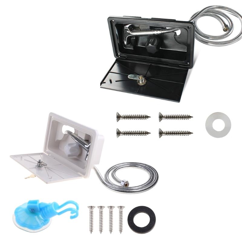 مجموعة صندوق دش RV مع قفل صنبور ، خرطوم دش ، عصا للقارب ، العربة ، العربة ، المنزل المتنقل ، ملحقات القافلة