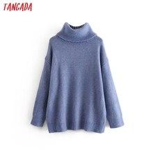 Tangada frauen oversize rollkragen pullover 2019 winter lange pullover mantel batwing hülse lose strickwaren top 3H90