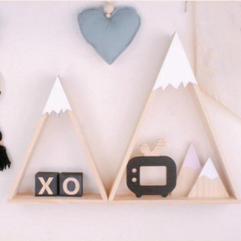 2 uds. Estilo nórdico colgante estante de madera montado en la pared creativo decoración del hogar estantes de Triple esquina niños casa habitación S