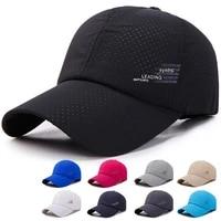 2021 quick drying baseball cap hats men women summer unisex breathable mesh cap sport pure color snapback hat bone baseball hat