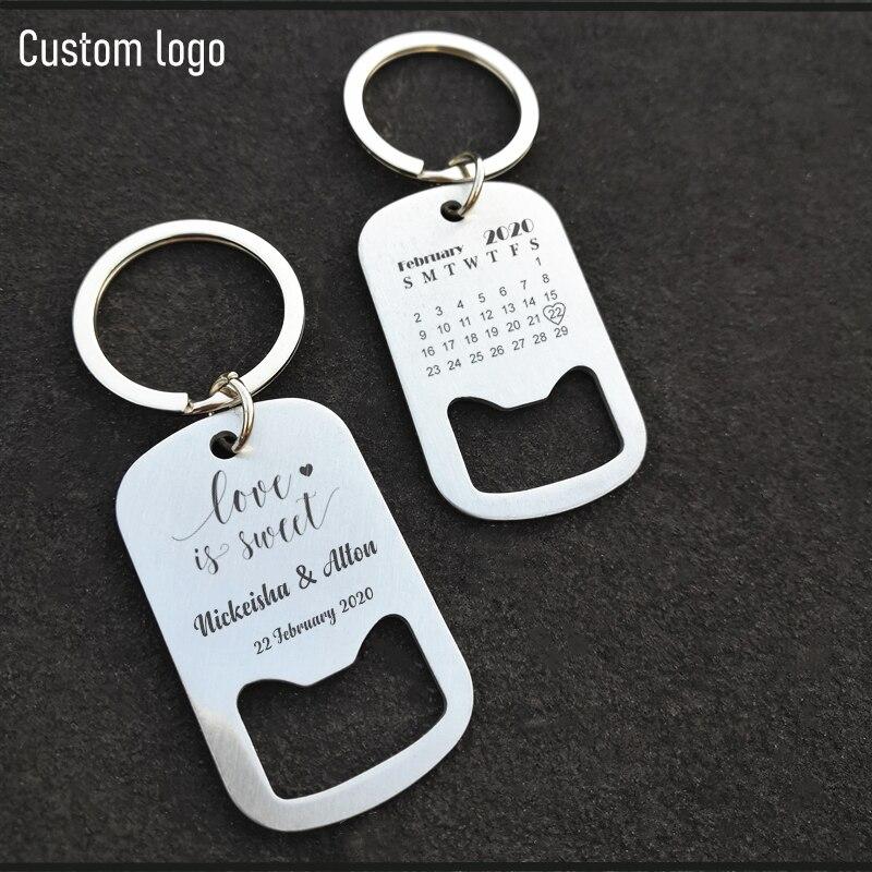 فتاحة زجاجات مخصصة ، سلسلة مفاتيح أو حلقة مفاتيح ، تقويم ، اسم ، تاريخ ، زجاجة بيرة ، هدية زفاف ، هدايا تذكارية