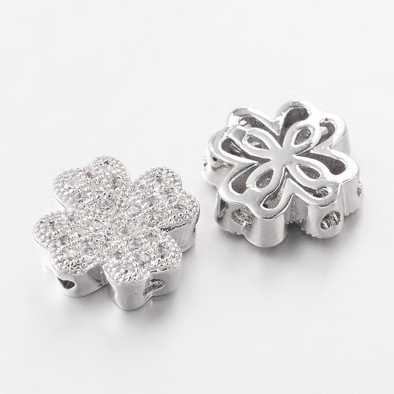 10 Uds. De cuentas de latón de circonia cúbica para hacer joyas trébol no contiene plomo. No contiene níquel Color platino 10x10x4mm, agujero 1m