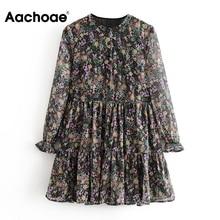 Aachoae manga comprida floral impressão boêmia vestido feminino solto o pescoço chiffon mini vestido casual plissado praia vestido robe femme