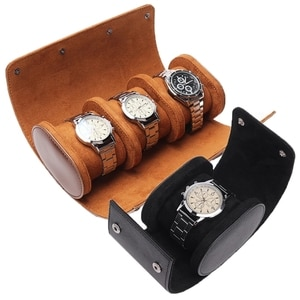 Men's Leather Watch Storage Box Jewelry Storage Bag Watch Stand and Roller Multifunctional Portable Removable Strap Storage Bag