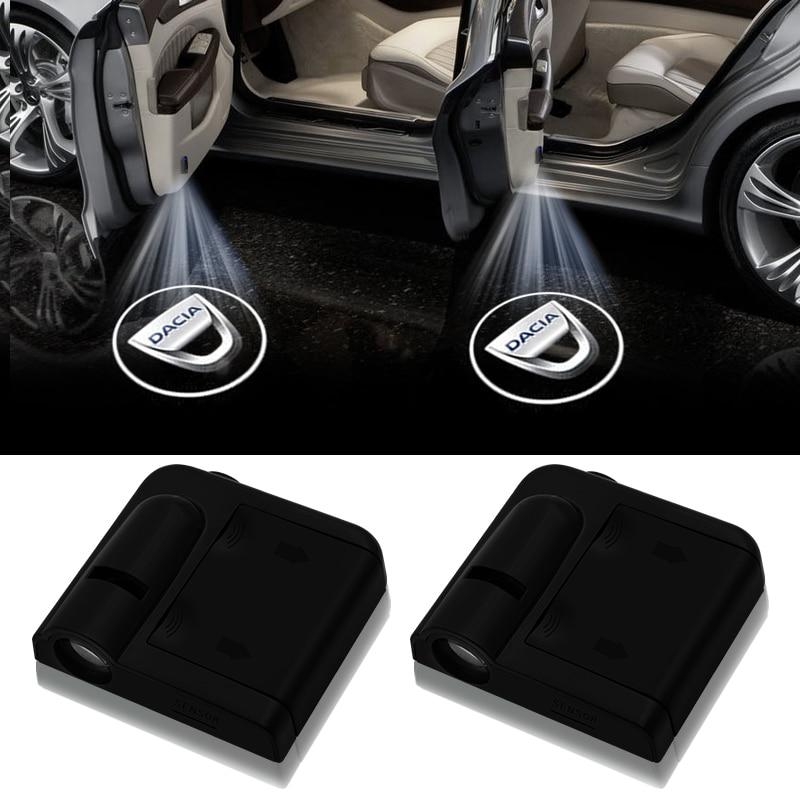 Proyector láser de cortesía para puerta de coche inalámbrico de 2 uds con Logo de luces sombras fantasmales para Dacia Duster Logan Sandero 2 Mcv Sandero