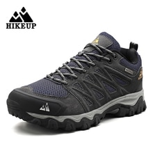 HIKEUP Men Hiking Shoes Mesh Suede Leather Outdoor Sports Male Shoes for Trekking Walking Worker Toe
