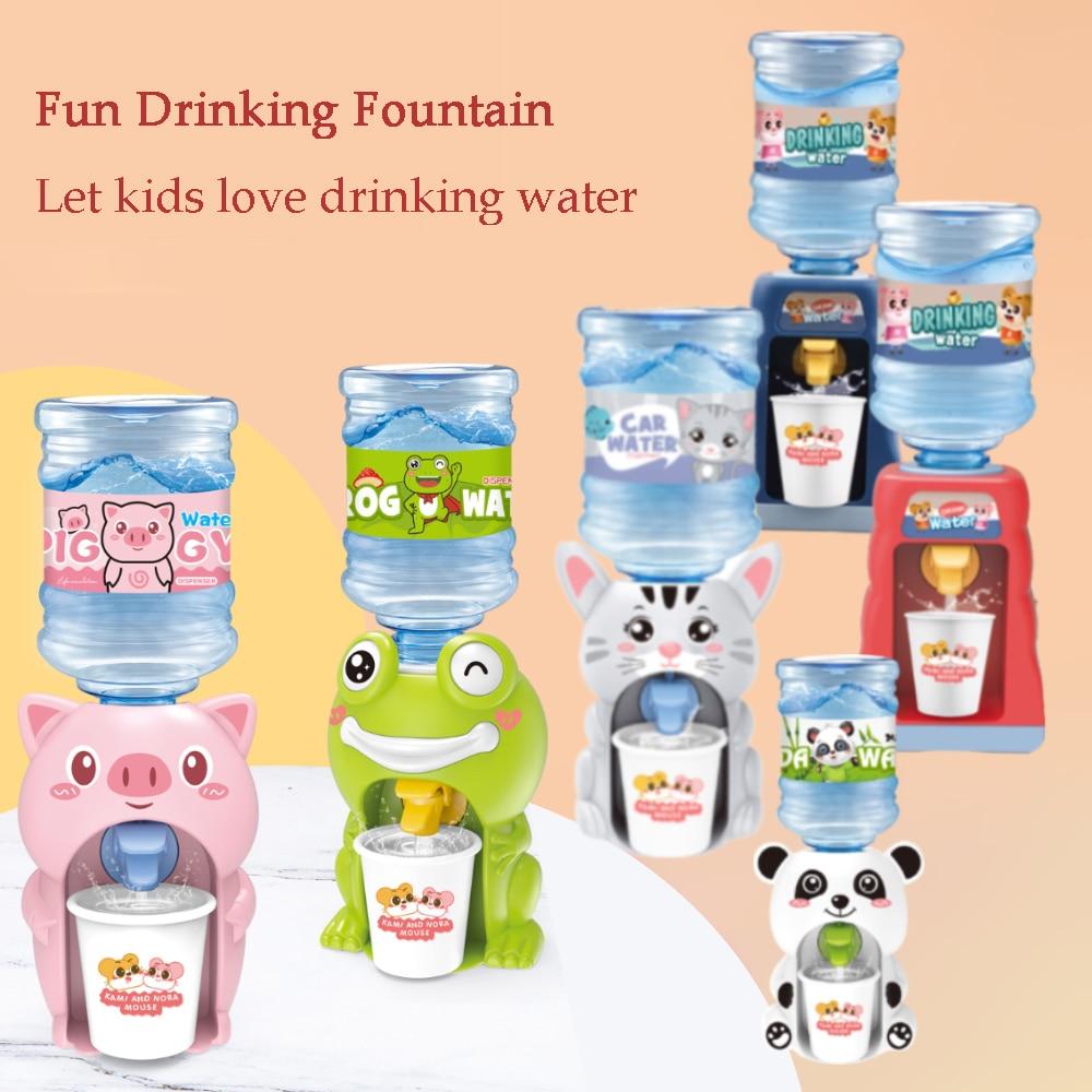 Mini Water Dispenser for Children Kids Gift Cute Cold/Warm Water Juice Milk Drinking Fountain Simulation Cartoon Pig Kitchen Toy