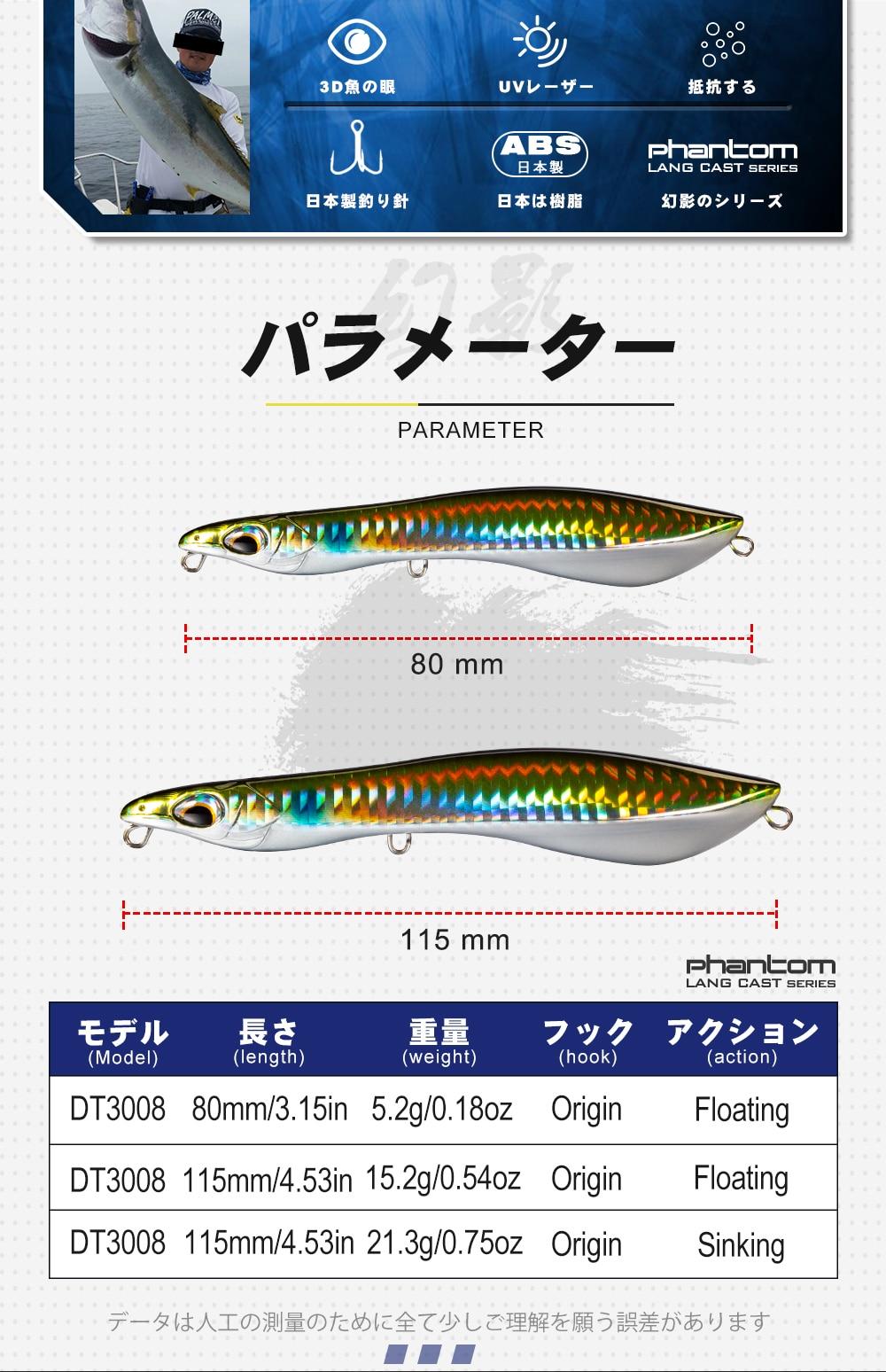 Leurre de surface Japonais 80/115mm - 5/15/21 Grs