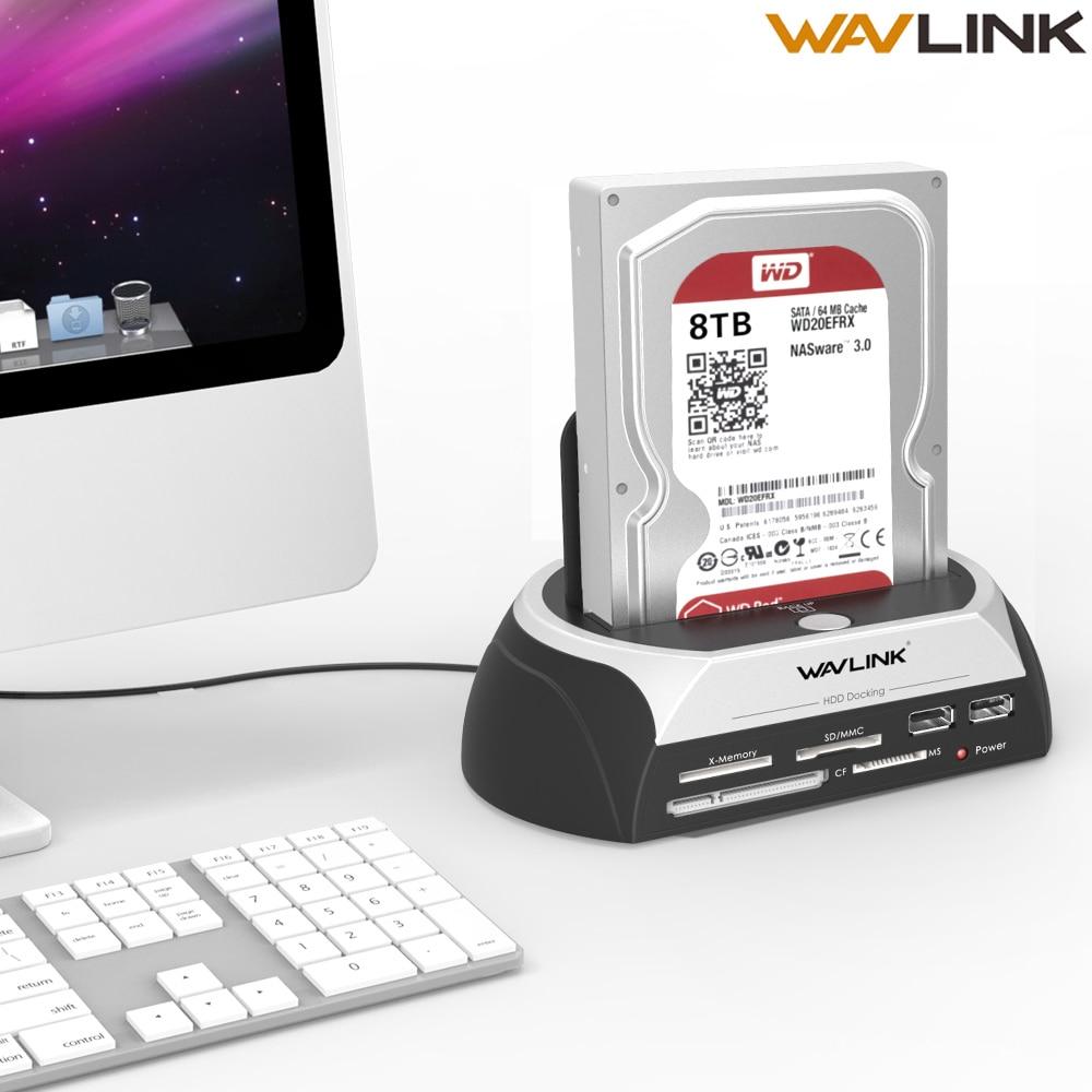 "Wavlink USAP HDD Docking Station 2.5""/3.5"" SSD SATA External Hard Disk Drive Enclosure Base Box 8TB Dock USB2.0 Hub Card Reader"