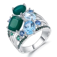 gems ballet natural green agate topaz finger ring for women wedding real 925 sterling silver stack gemstones rings fine jewelry