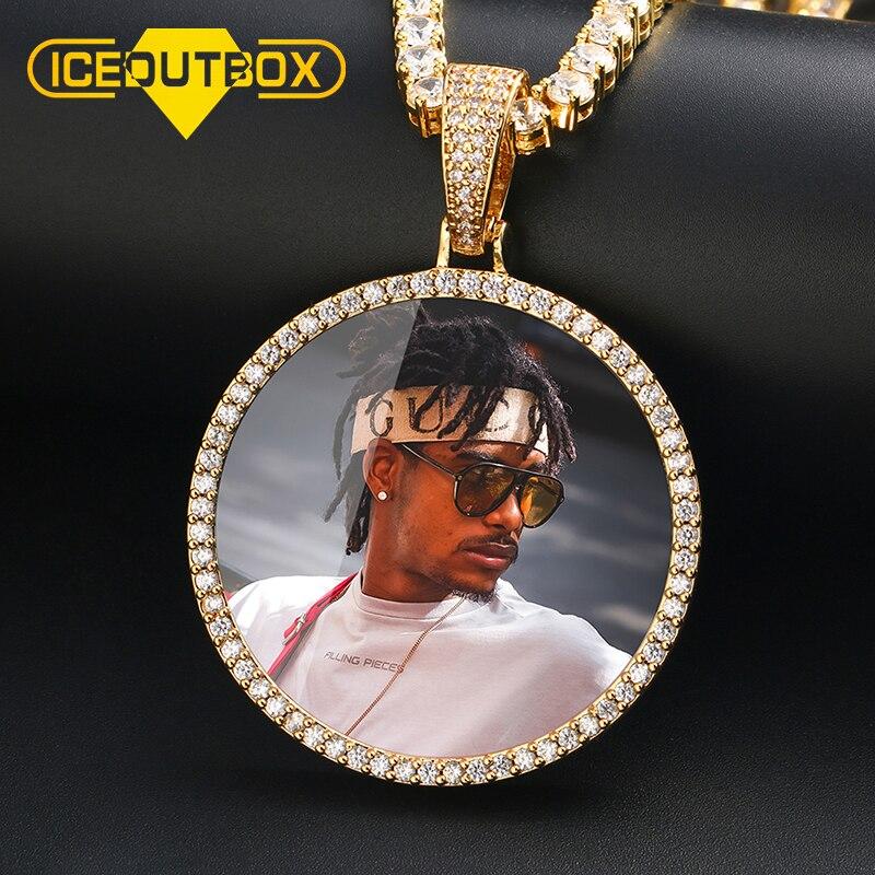 Foto personalizada de gran tamaño colgante redondo collar personalidad de Hip Hop joyería de 4mm CADENA DE TENIS circón cúbico oro regalo de plata