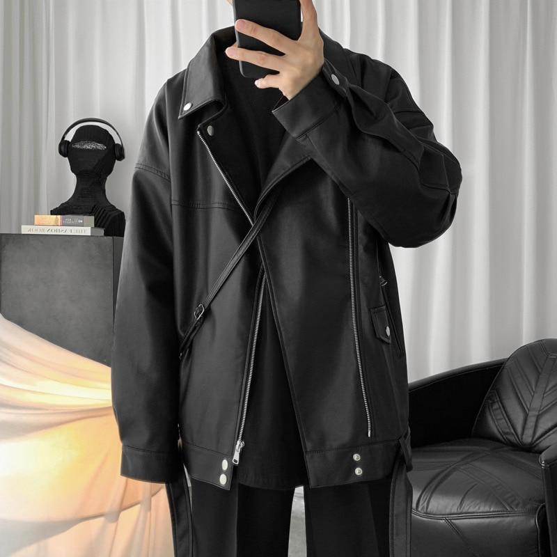 Spring New Black Leather Jacket Men's Fashion Loose Motorcycle Jackets Mens Streetwear Wild Hip Hop Bomber Jacket Men Outwear