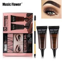 Musik Blume 2 teile/los Augenbraue Enhancer Gel Make-Up Set Augenbraue Creme Schatten Wasserdicht Langlebige Augenbrauen Kit Mit Pinsel