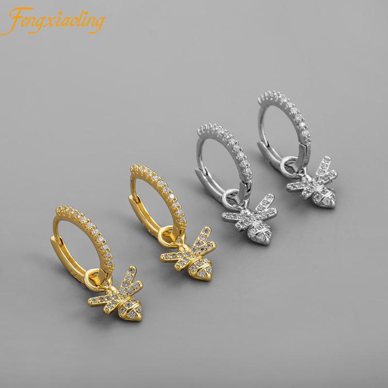Fengxiaoling 2021 New 925 Sterling Silver Mosaic Cubic Zircon Bee Pendant Earrings For Women Office/career Female Drop Earrings