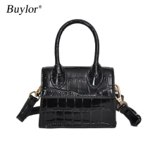 Buylor Crossbody Bag Mini Shoulder Bag Small Square Leather Handbag Cute Messenger Bag Crocodile Pat