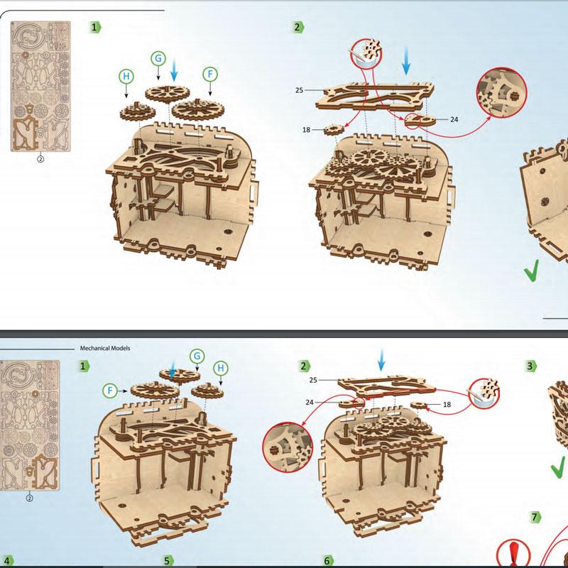 Joyero modelo de diseño ensamblado archivo CNC corte láser CDR dwg formato vector dibujo madera contrachapada listo para usar Archivo de corte E23